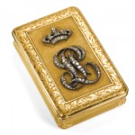 A.R. Morel Chased Gold and Diamond Monogram Box