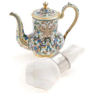 Russian Cloisonné Enamel Teapot and Silver Napkin Ring with Imperial Monogram