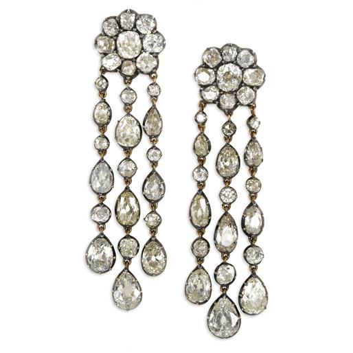Diamond Festoon Pendant Earrings