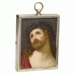 Antique Russian Porcelain Plaque of Christ