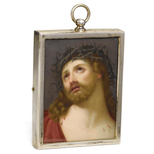 Antique Russian Porcelain Plaque of Christ
