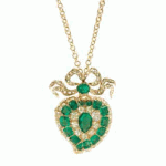 Emerald and Diamond Heart Necklace