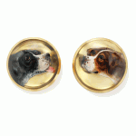 Reverse Crystal Hunting Dog Antique Tiffany Earrings