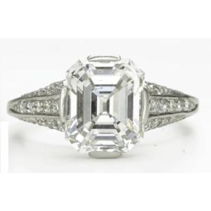 Platinum and Emerald-cut Diamond Ring
