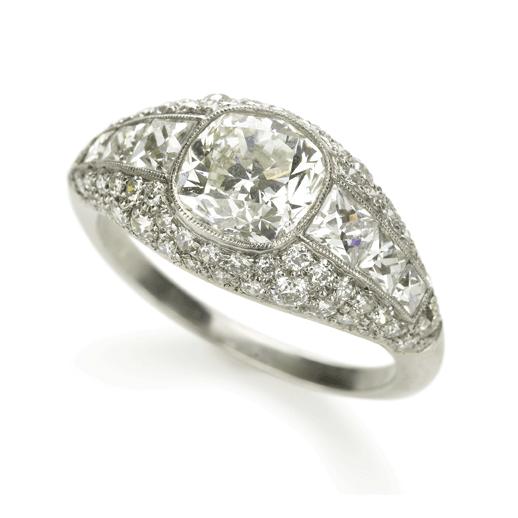 Cushion-cut Antique Diamond Bombé Ring