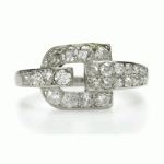 Cartier Diamond and Platinum Buckle Ring