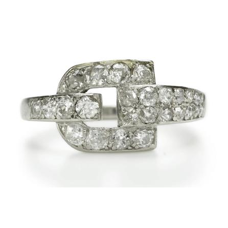 Cartier Diamond and Platinum Buckle Ring