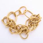 bracelet, 1960s Gold Geometric Link Necklace and Bracelet