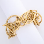 bracelet other view, 1960s Gold Geometric Link Necklace and Bracelet