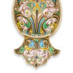 detail view, Antique Russian Enamel Kovsh