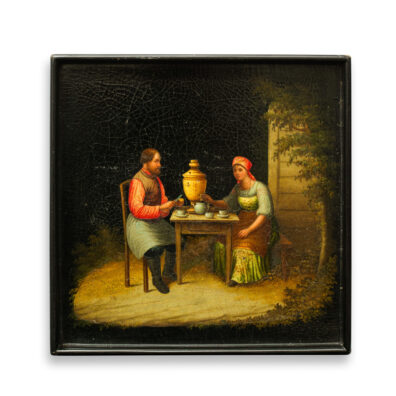 main view, Antique Russian Lacquer Tray