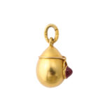 other view, Faberge gold and ruby mini egg pendant