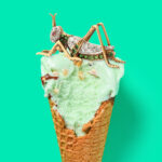 Antique Green Garnet and Diamond Grasshopper Brooch sitting on top of an ice cream cone