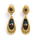 earrings, Antique Swiss Enamel Demi-parure