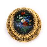 brooch, Antique Swiss Enamel Demi-parure