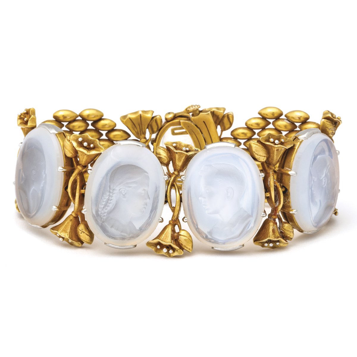 closed, Gold and Moonstone Intaglio Bracelet