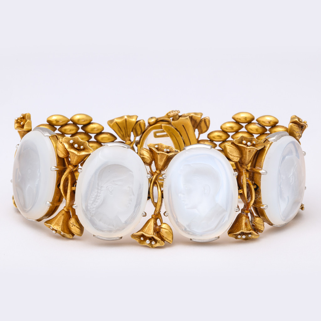 Gold and Moonstone Intaglio Bracelet
