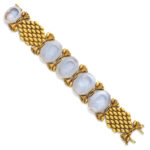 open, Gold and Moonstone Intaglio Bracelet