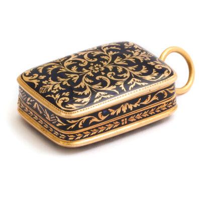 main view, Antique Gold and Enamel Pendant Vinaigrette