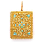 main view, Antique Gold and Turquoise Pendant Vinaigrette