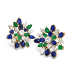 Main view of Vintage 1950s Multi Gem Cluster Earrings
