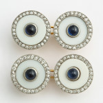 Vintage Cartier Agate, Diamond, and Sapphire Cufflinks