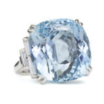 main view, Cushion-cut Aquamarine and Platinum Cocktail Ring