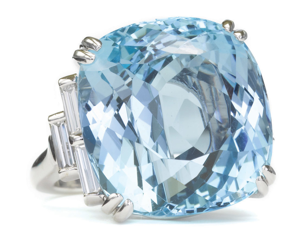 Large Contemporary Aquamarine and Platinum Ring