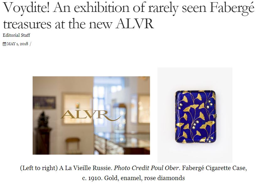 ALVR in Antiques Mag Celebrating Royal Faberge