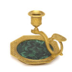 other view, Antique Russian Malachite and Gilt Bronze Chamber Stick