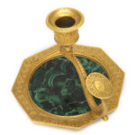 aerial view, Antique Russian Malachite and Gilt Bronze Chamber Stick