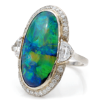 main view, Black Opal and Diamond Cluster Ring