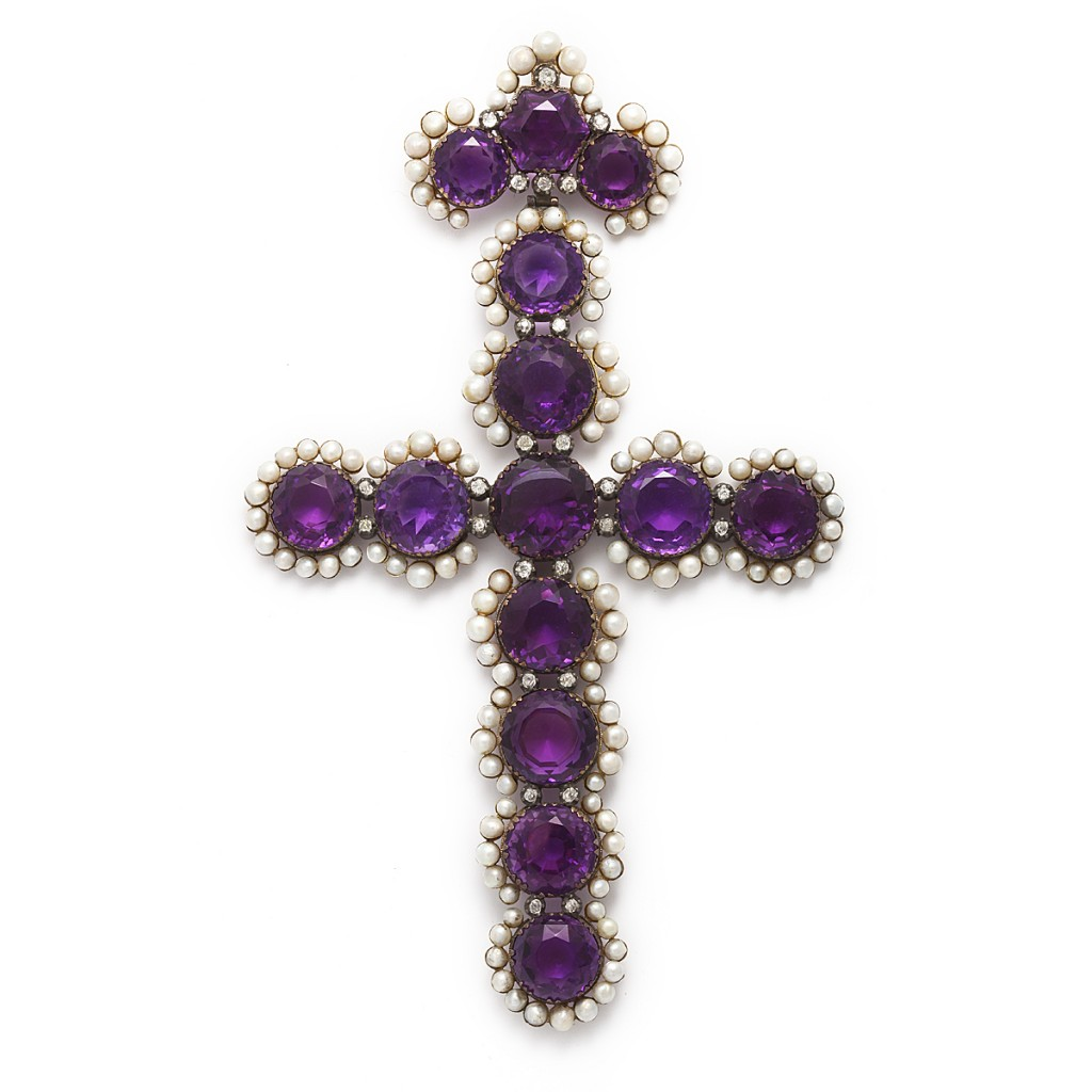 19th Century Amethyst and Pearl Cross