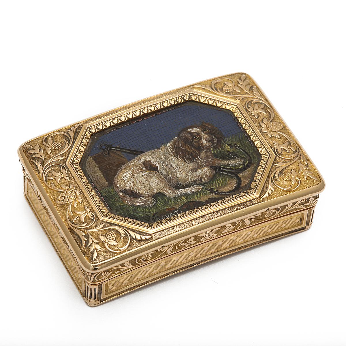 main view, micromosaic dog box