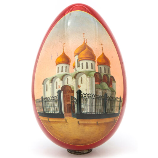 Russian Papier-mâché Easter Egg, cathedral view