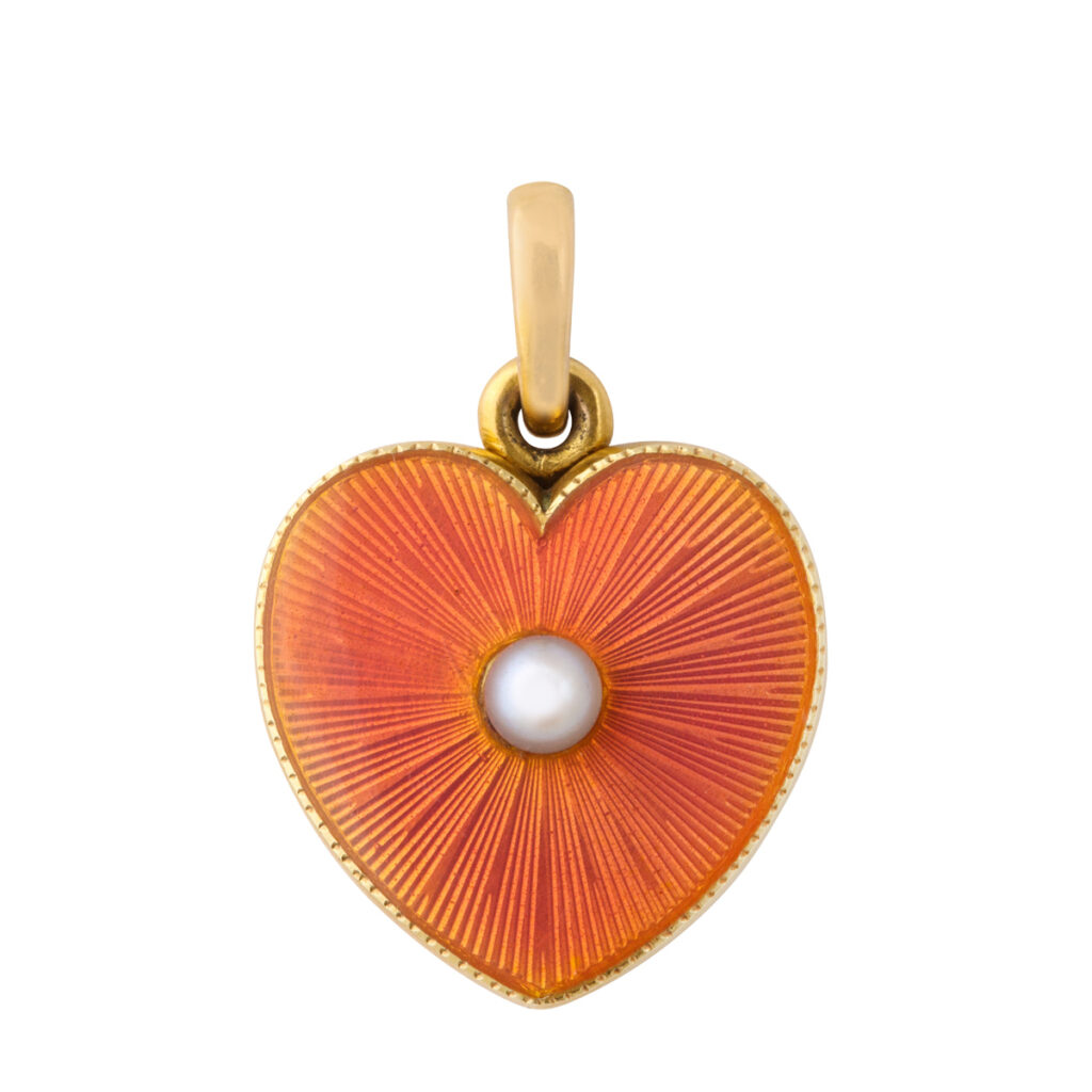 main view, Faberge enamel and pearl heart locket pendant