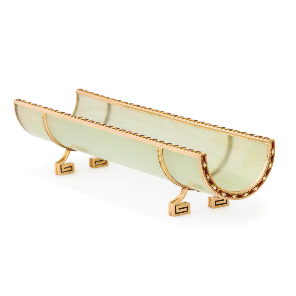 main view, Faberge bowenite pen tray