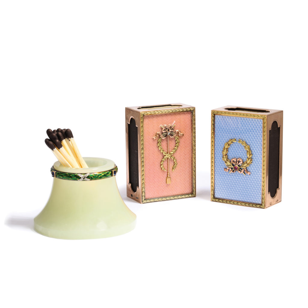 main view, Fabergé Matchstick Holder and Matchbox Covers