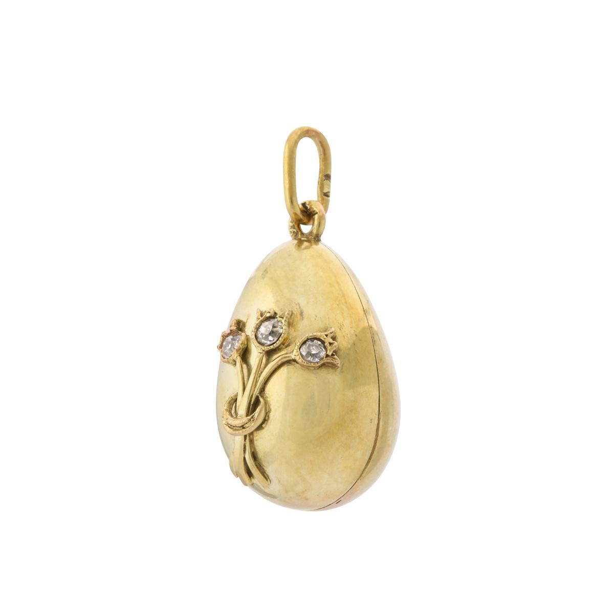 main view, Fabergé Gold and Diamond Mini Egg Pendant