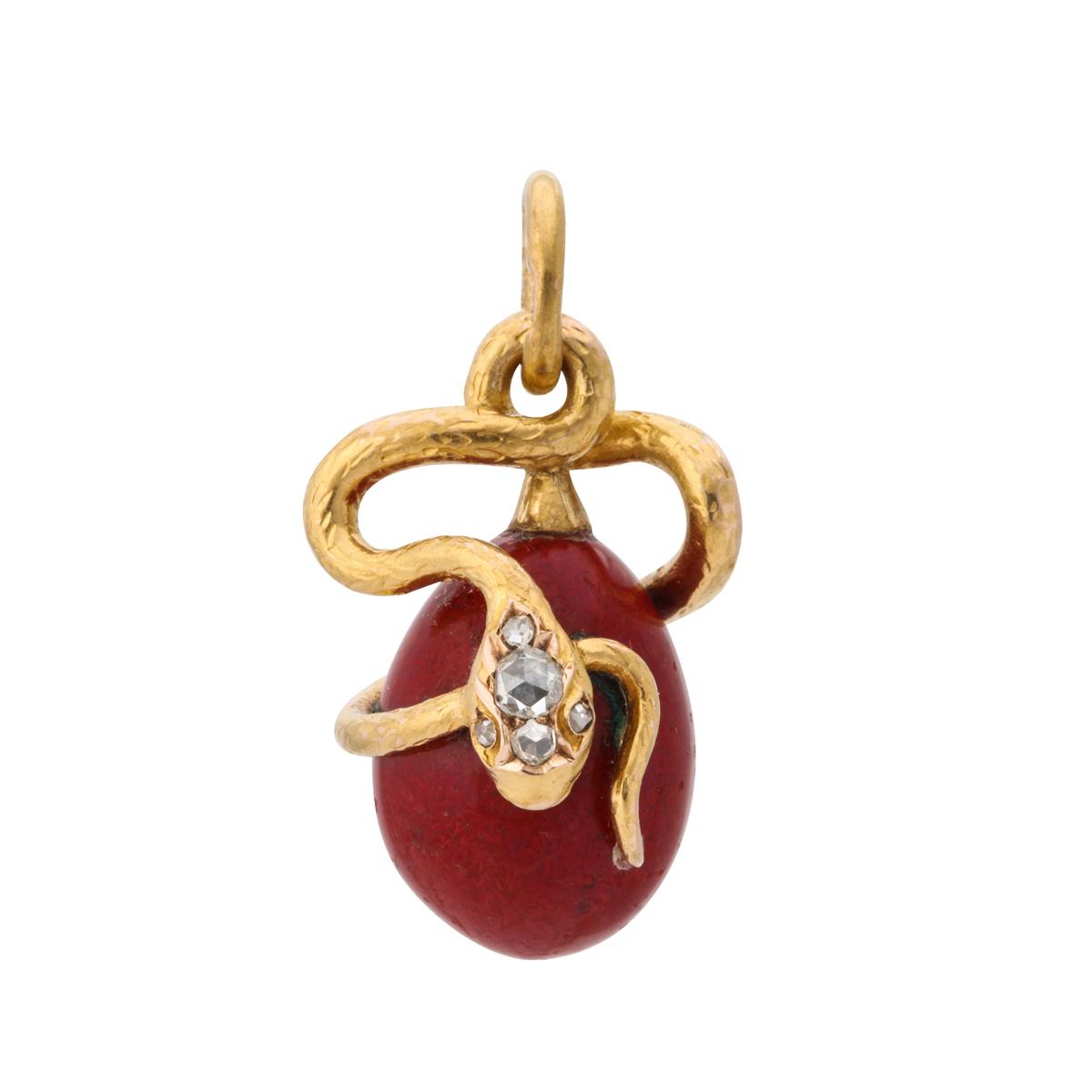 main view, Fabergé Serpent Mini Egg Pendant
