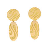 main view, 1970s Woven Gold Pendant Earrings by Georges L'Enfant