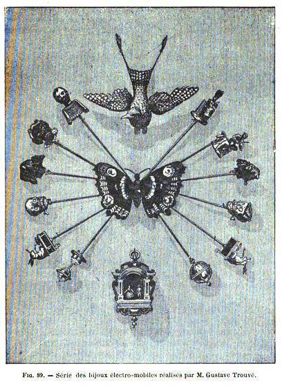 Gustave Trouve stickpins in 1891 George Barral book