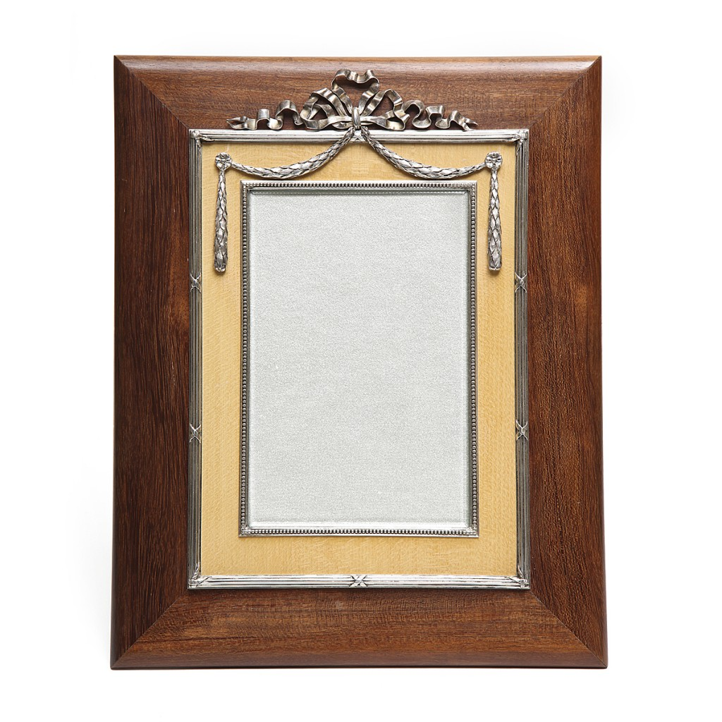 Faberge Silver-mounted Holly and Amboyna Wood Frame