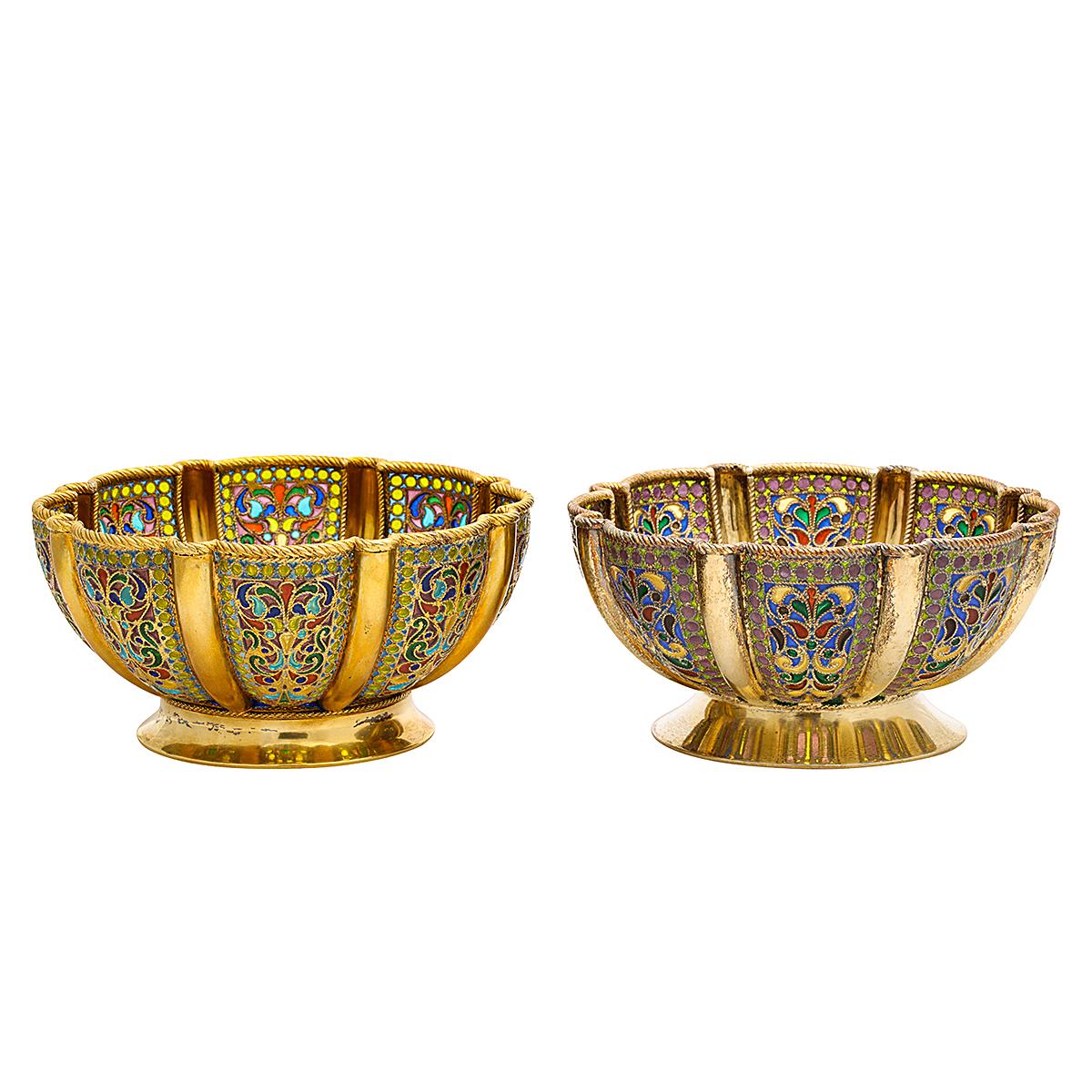 main view, antique Russian enamel bowls by Khlebnikov
