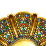 another detail view of antique Russian enamel bowls by Khlebnikov