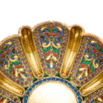 one detail view of antique Russian enamel bowls by Khlebnikov