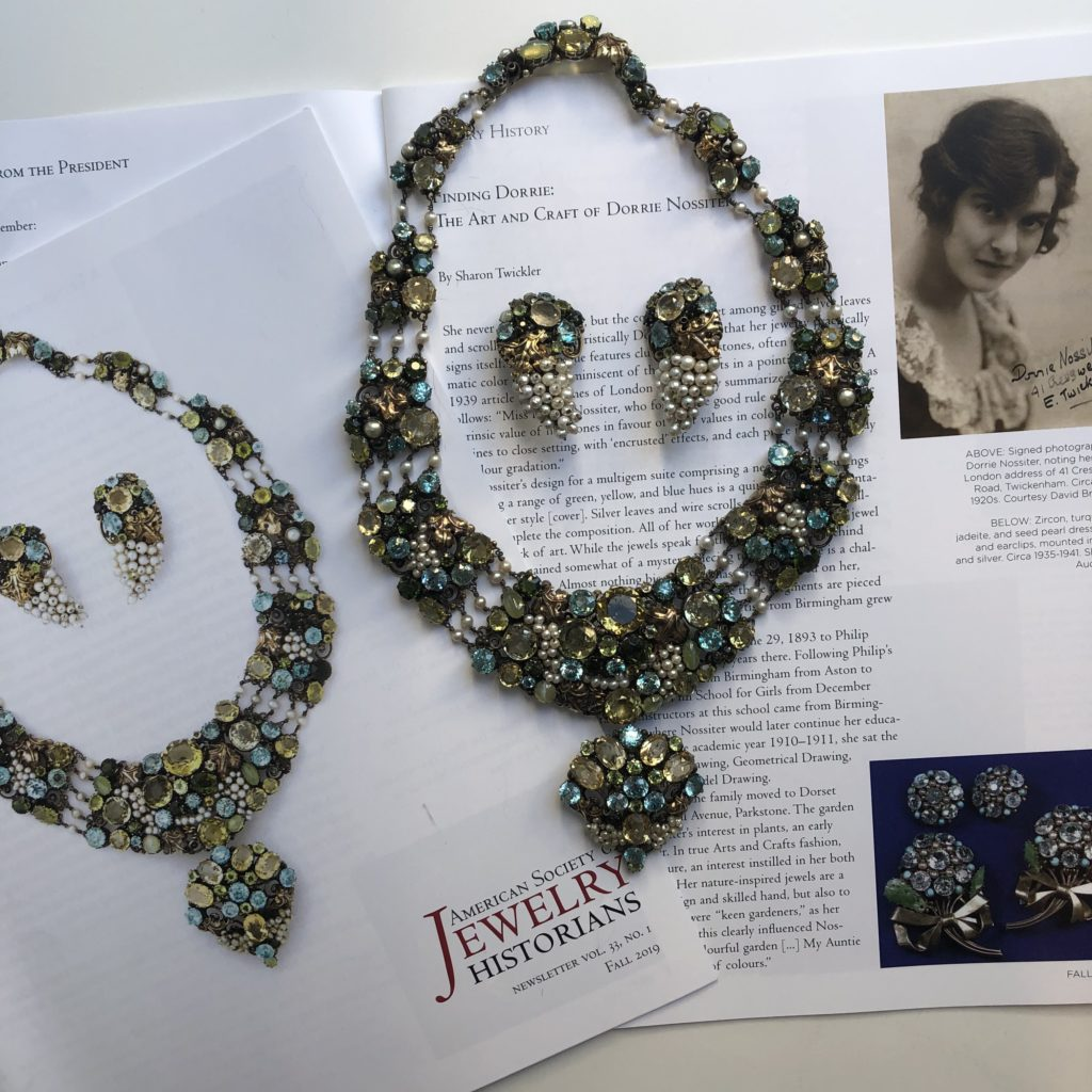 Dorrie Nossiter necklace and earrings with ASJH newsletter