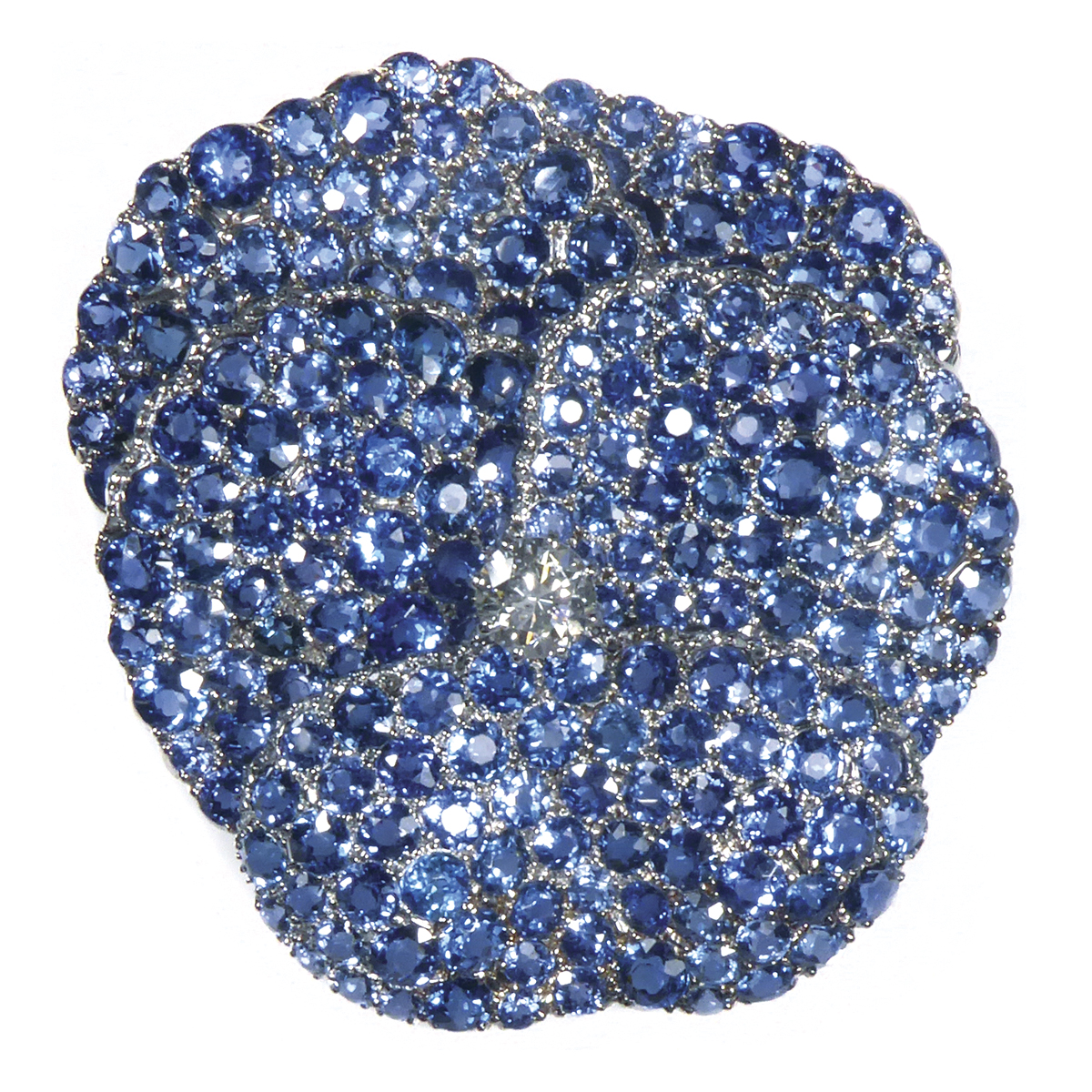 main view, antique Montana sapphire pansy brooch