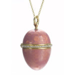 main view, Pink enamel egg-form pendant
