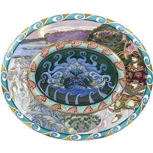 main view of ceramic charger depicting scenes from the legend of sadko